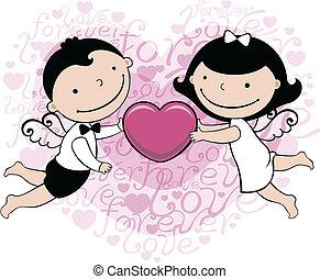 bröllop, eller, kort, valentinbrev