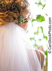 bröllop, frisyr