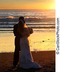 bröllop, hos, solnedgång