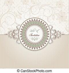 bröllop, kort, inbjudan