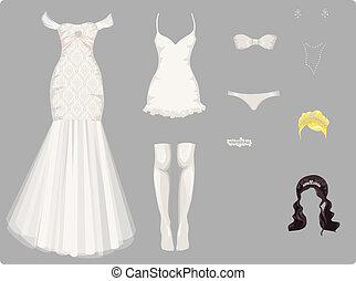 bröllop, kvinnlig, kläder