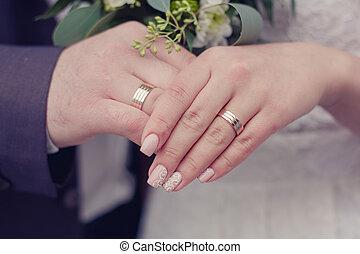 bröllop påringningar, på, hands.