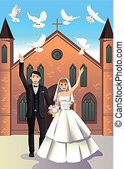 bröllop par, släppande, vit, duvor