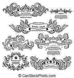 bröllop, sätta, viktorian, årgång, design., ornaments.