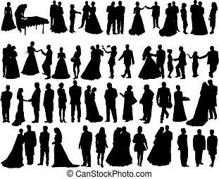 bröllop, silhouettes