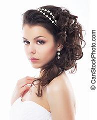 bröllop, stil, -, blid, ung, fiancee., frisyr, och, smink