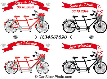 bröllop, tandem cyklar, vektor, sätta