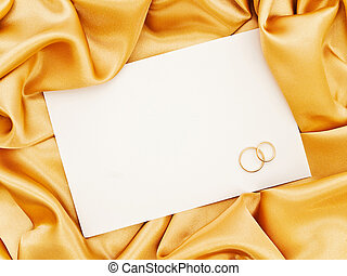 bröllop, vävnad, gyllene, gräns