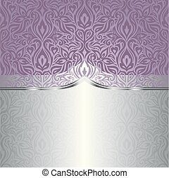 bröllop, vektor, design, bakgrund, violett, blommig, silver