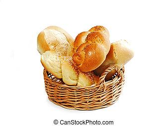 brød kurv, på hvide