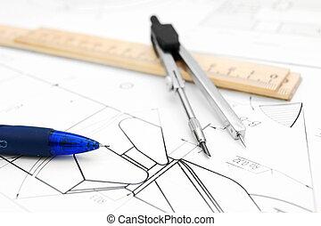 brújulas, lápiz, y, regla, en, el, drawing.