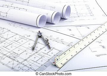 brújulas, y, arquitecto, escala, regla, en, plan, dibujo
