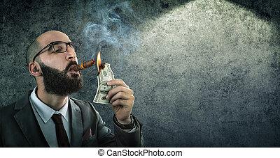 brûlé, argent, homme affaires, -