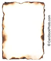 brûlé, bords, cadre