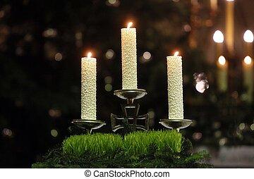 brûlé, bougies, sur, église, autel