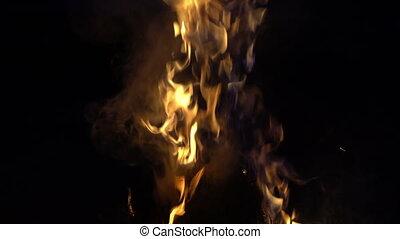 brûlé, brûler, camp, endroit, nuit, boucle