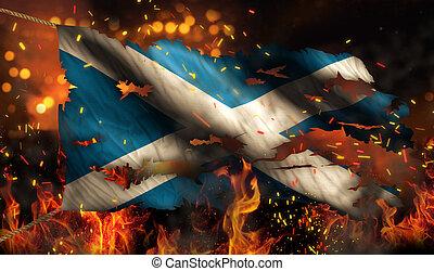 brûlé, brûler, drapeau écosse, nuit, guerre, conflit, 3d