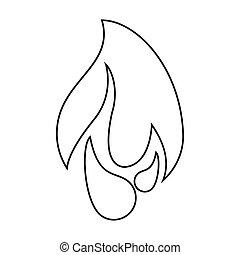 brûlé, brûler, flamme, conception, graphique, ligne