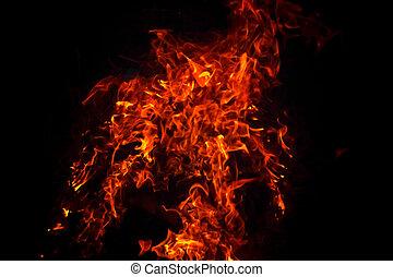 brûlé, brûler, flamme, fond