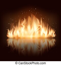 brûlé, brûler, flamme, vecteur