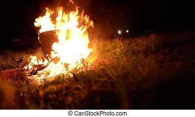 brûlé, brûler, haut, nuit, fermer, chaise