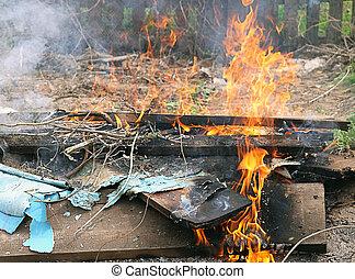 brûlé, brûler, illégal, literie, flamme, toxique