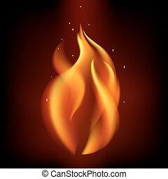 brûlé, brûler, noir, fond, flamme, rouges