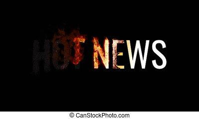 brûlé, brûler, texte, smoke., chaud, included, alpha, animé, news., canal