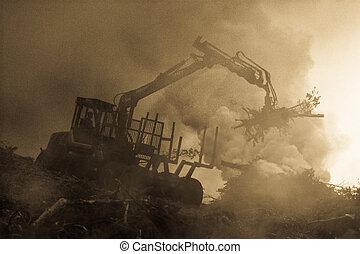 brûlé, brûler, tractor., waste., forêt, fumée, découpage