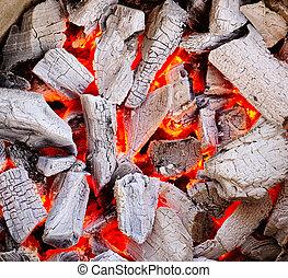 brûlé, charbon de bois