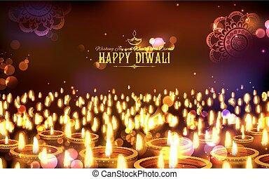brûlé, diya, festival, lumière, diwali, inde, fond, vacances, heureux