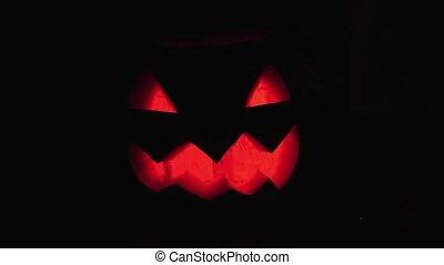 brûlé, espace, halloween, o, sombre, cric, bougie, lanterne, flotte