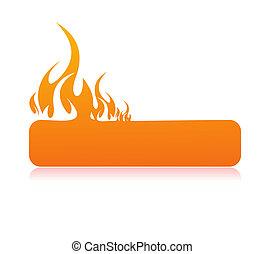 brûlé, flamme, bannière