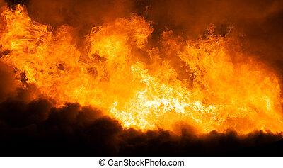 brûlé, foyer tir, toit, bois, flamme
