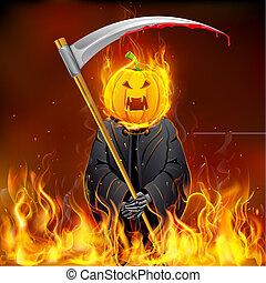 brûlé, halloween, sinistre