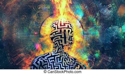 brûlé, homme, modèle, labyrinthe