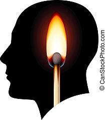 brûlé, idées, allumette, créatif