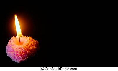 brûlé, métrage, valentin, décoration, bougie, jour