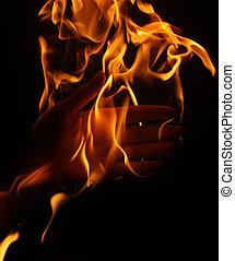 brûlé, main