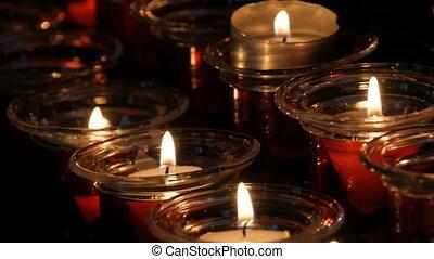 brûlé, obseque, rond, bougies, temple, rouges