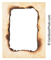 brûlé, papier, cadre, bords