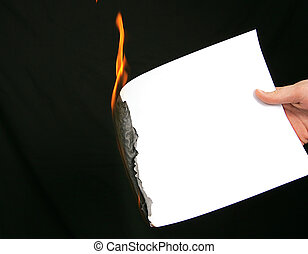 brûlé, papier, monter