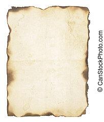brûlé, papier, vieux, bords