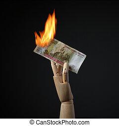 brûlé, rouble, billet banque