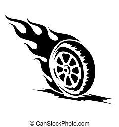 brûlé, roue, tatouage, noir, brin