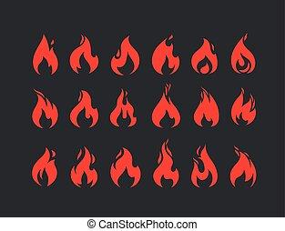 brûlé, set., vecteur, flammes, collection