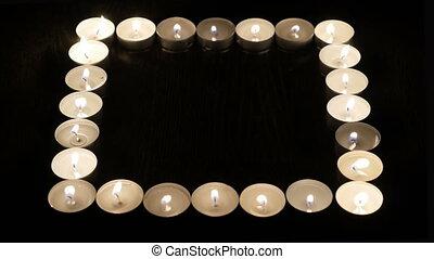 brûlé, square., bougies, vergé, formulaire, dehors