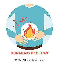 brûlé, stomach., sentiment, gastritis, symptôme