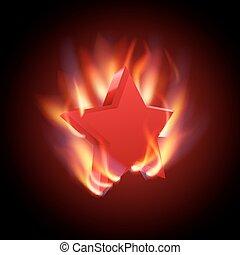 brûlé, vecteur, étoile, rouges, illustration