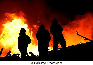 brûler, énorme, combattants, flammes